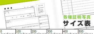 各種証明写真サイズ表